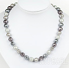 Clssic Design 10mm Faceted Black Round Four Different Color Seashell Beaded Necklace