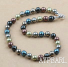 Clssic Design 10mm Faceted Round Assorted Six Different Color Seashell Beaded Necklace