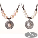 Newly Popular Style 2 pcs Freshwater Pearl Leather Necklace with Round Tibet Silver Pendant