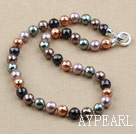 Wholesale Clssic Design 10mm Faceted Round Five Different Color Seashell Beaded Necklace