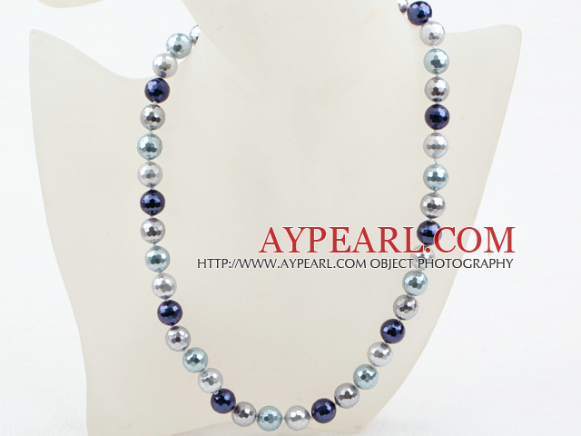 Clssic Design 12mm Faceted Round Three Different Color Seashell Beaded Necklace