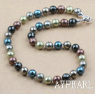 Wholesale Clssic Design 12mm Faceted Round Assorted Six Different Color Seashell Beaded Necklace