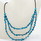 Wholesale New Design Blue Turquoise and Glass beads Necklace