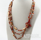 Multi Strands Brown Pearl Crystal och Shell och Agate Flower halsband