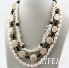 Multi Strand White Freshwater Pearl and White Coral Necklace