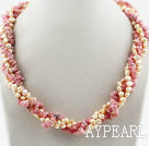 Wholesale Pink Series Freshwater Pearl and Rhodonite Twisted Necklace