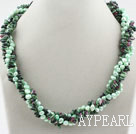 Wholesale Green Series Freshwater Pearl and Zoisite Twisted Necklace