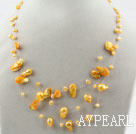 Wholesale Three Strands Fantasy Style Yellow Color Teeth Shape Pearl Necklace