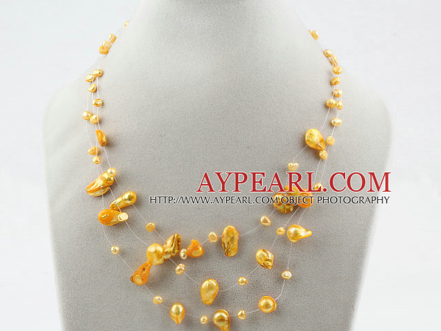 Three Strands Fantasy Style Yellow Color Teeth Shape Pearl Necklace
