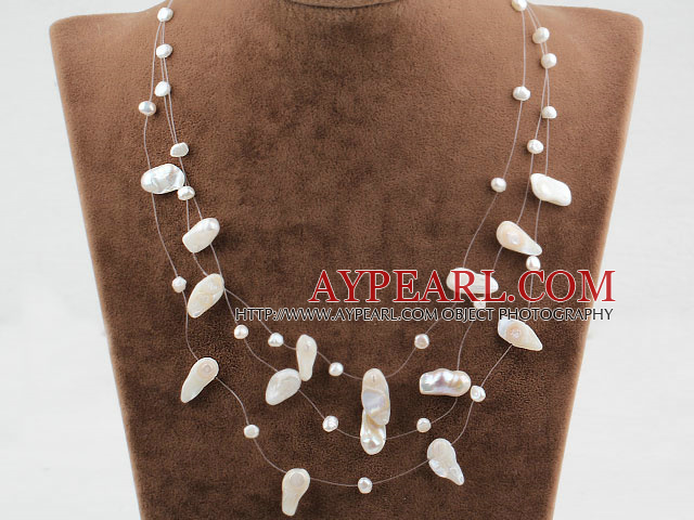Three Strands Fantasy Style White Teeth Shape Pearl Necklace