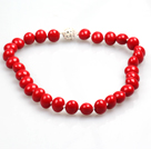 Single Strand Hot Pepper Shape Red Coral Necklace with Moonlight Clasp