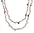 Long Style Assorted White Freshwater Pearl and Multi Color Stone Necklace
