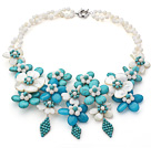 Wholesale 2013 Summer New Design White and Green Series White Shell and Turquoise Flower Necklace