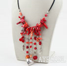 Wholesale Assorted Red Coral Necklace with Black Cord