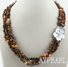 Wholesale Three Strands Fillet Tiger Eye Chips Necklace with Shell Flower Clasp