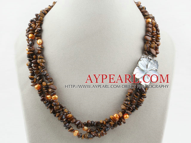 Three Strands Fillet Tiger Eye Chips Necklace with Shell Flower Clasp