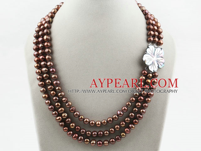 Three Strands Coffee Brown Color Round Freshwater Pearl Necklace with White Shell Flower Clasp