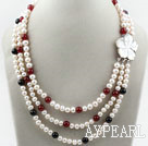Wholesale Three Strands White Freshwater Pearl and Black Agate and Carnelian Necklace with White Shell Flower Clasp