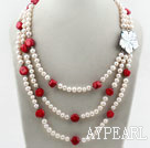 Three Strands White Freshwater Pearl and Red Coral Necklace with White Shell Flower Clasp