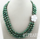Three Strands Peacock Green Color Baroque Pearl Necklace with White Shell Flower Clasp
