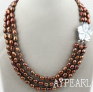 Wholesale Three Strands Coffee Bornw Color Baroque Pearl Necklace with White Shell Flower Clasp