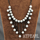 d white sea shell necklace albe, rotunde mare coajă colier