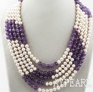 Five Strands 7-8mm Round White Freshwater Pearl and Amethyst Necklace