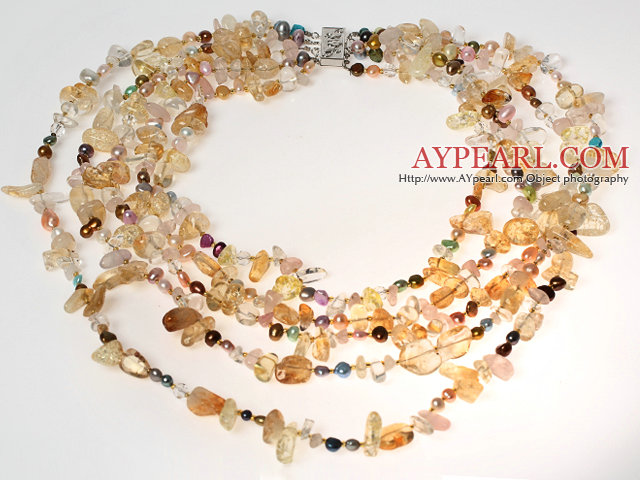 Multi Strands Clear Crystal and Citrine and Pearl Necklace