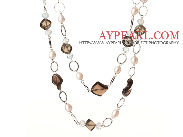 Beautiful Long Style Rhombus Shape Natural Smoky Quartz and White Pearl Beads Necklace