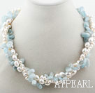 Multi Strands White Freshwater Pearl and Aquamarine Chips Twisted Necklace