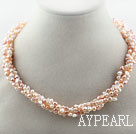 Assortiment de 3-4mm Pink Pearl eau douce série Twisted collier