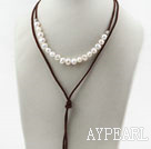 Simple Style White Freshwater Pearl Necklace with Brown Thread