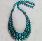 Wholesale Three Layer Round Blue Green Indonesia Malachite Necklace