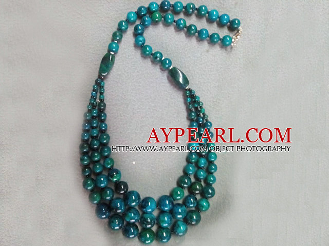 Three Layer Round Blue Green Indonesia Malachite Necklace