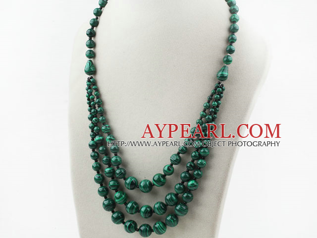 Three Layer Round Indonesia Malachite Necklace