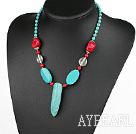 turquoise and coral necklace with lobster clasp