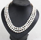 Fashion Party Style 3 Strand Natural 8-9mm White Baroque Pearl Necklace With Shell Flower Clasp