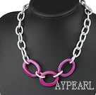 metal jewelry fahsion style pink agate necklace