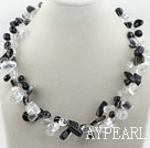 Wholesale Clear Crystal and Black Crystal Necklace