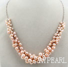 Wholesale Natural Pink Freshwater Pearl Necklace with Metal Chain