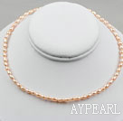 Wholesale 3-4mm Rice Shape Pink Freshwater Pearl Necklace