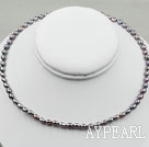 3-4mm Rice Shape Black Freshwater Pearl Halsband