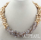 Wholesale Assorted Yellow Freshwater Pearl and Gray Agate Necklace