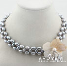 Wholesale Gray Freshwater Pearl and White Shell Flower Necklace