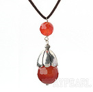Simple Style Faceted Carnelian Pendant Necklace