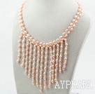 Wholesale New Design Pink Pearla and Clear Crystal Tassel Necklace