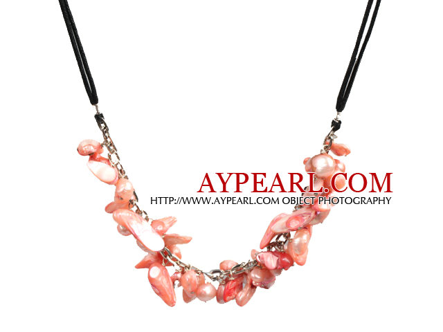 New Arrival Pink Teeth Shape Pearl Necklace with Lobster Clasp
