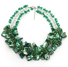 Wholesale Peacock Green Acrylic Beads and Clear Crystal and Green Shell Flower Wired Necklace