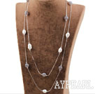 Long Style Gray Agate and White Freshwater Pearl Necklace with Metal Chain