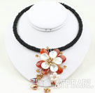 Wholesale White Pearl and Agate Shell Flower Choker Necklace